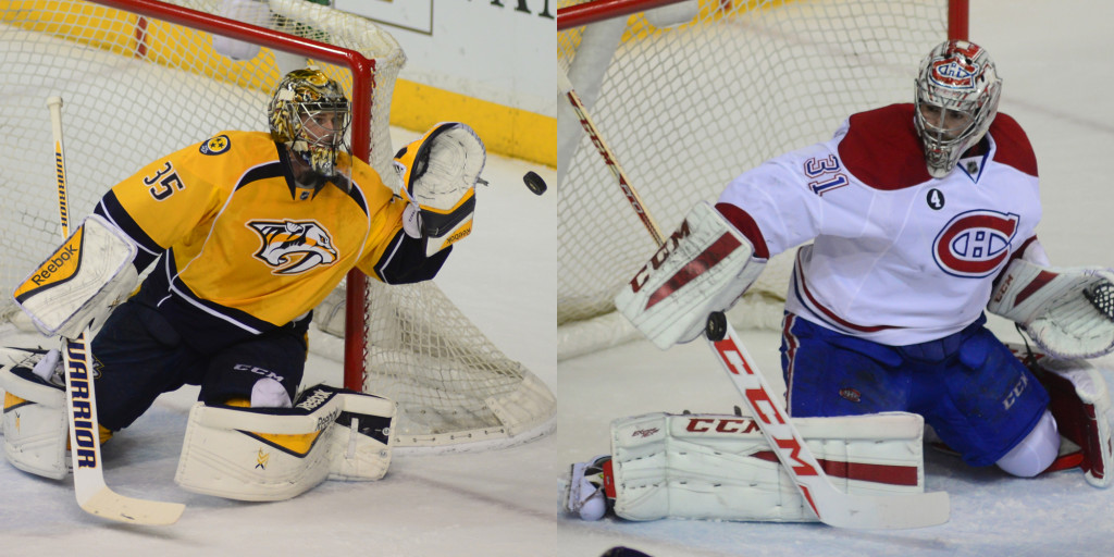 The Predators Pekka Rinne and the Canadiens Carey Price. Photos by Mike Strasinger