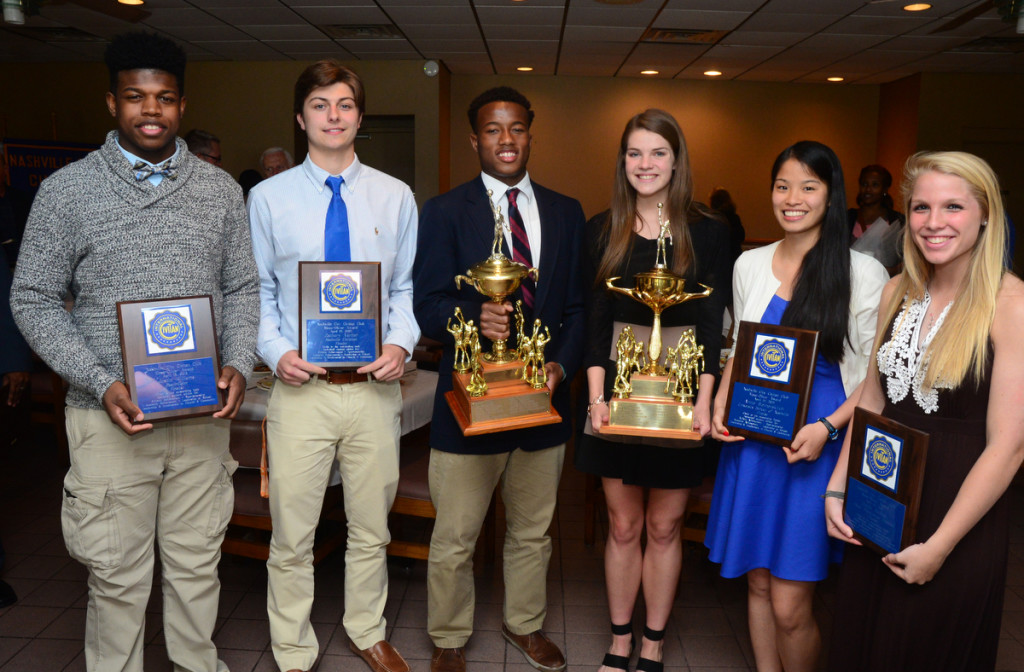 The 2015 Moss-Oliver Finalists, L to R, Pearl-Cohn's Justin Williams, NCS's Zachary Varner, MBA's Jermaine Francis, MLK's Molly Kafader, USN's Annie Weimerskirch, CPA's Caitlin Nichols