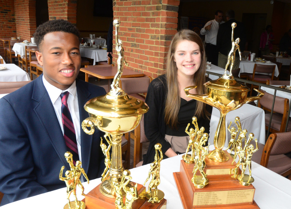 The 2015 Moss-Oliver Award Winers -MBA's Jermaine Francis and MLK's Molly Kafader - Photos by Mike Strasinger