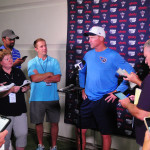Coach Whisenhunt addresses the press after practice