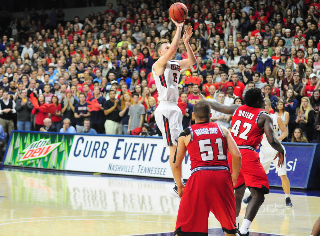 Belmont's Evan Bradds shoots against Western Ky. Belmont downed WKU 90-85.Photos by Mike Strasinger
