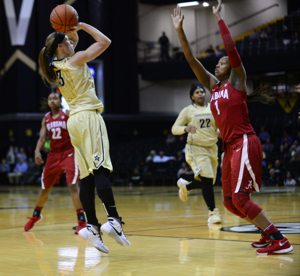 Vanderbilt's Rachel Bell shoots against Alabama - Photos by Mike Strasinger