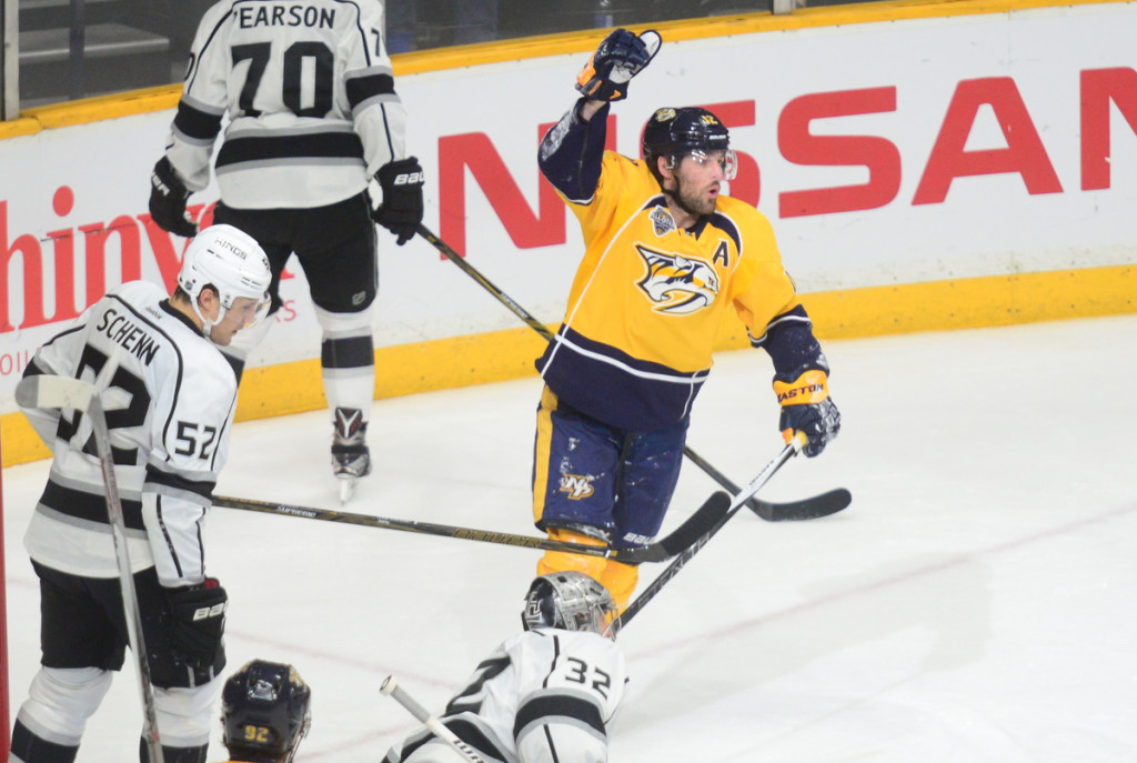 The Predators Mike Fisher celebrates his 2nd period goal vs the LA Kings - Photos by Mike Strasinger