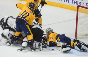 Predators goalie Pekka Rinne stopped 28 of 30 shots