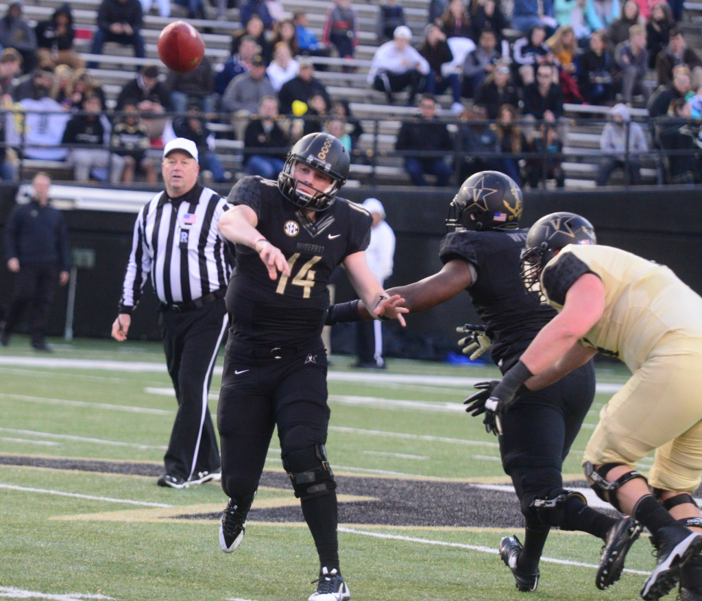Kyle Shurmer throws downfield during the Black and Gold Spring Game - Photos by Mike Strasinger