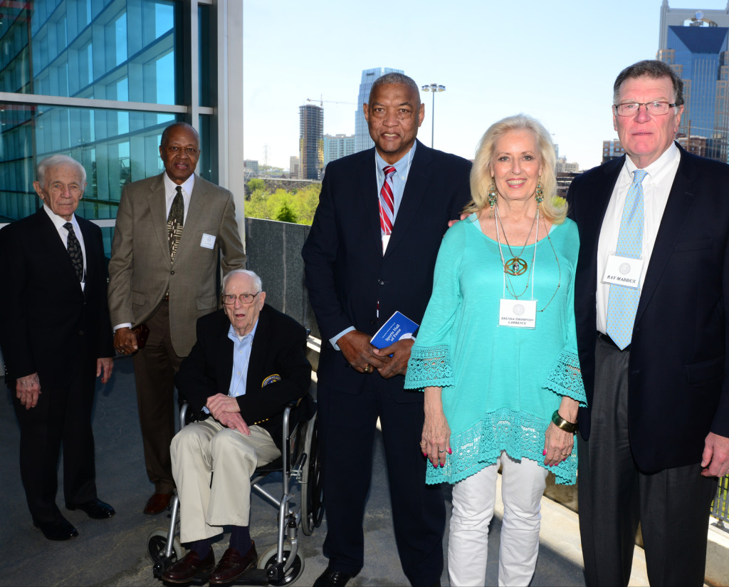 The MNPS HOF Class of 2016 - Dick Fulton, Jerry Harkness, (representing Vic Rouse inducted posthumously), Hershel Moore, Les Hunter, Brenda Thompson Lawrence, Ray Maddux - Photo by Mike Strasinger