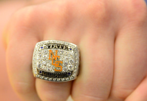 Ring on the hand of star lineman Robert Brantley