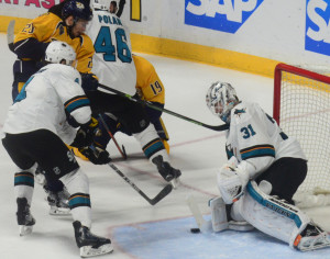 Miikka Salomaki was called for high sticking against Sharks goalie Martin Jones resulting in a power-play goal for the Sharks