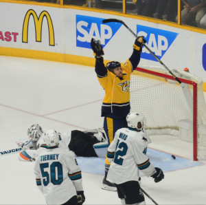 Colin Wilson celebrates after tying the game 3-3 in the 3rd.