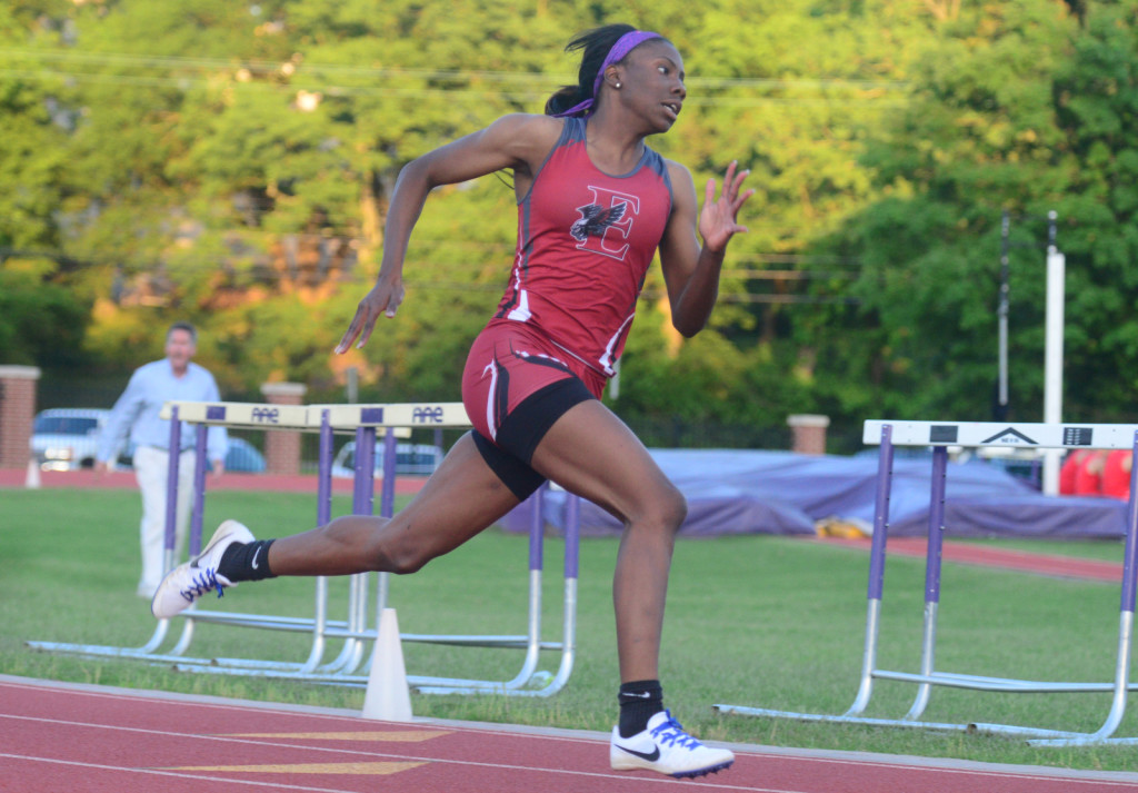 East Nashville's Grenetria Shell won the 100 and 300 meter hurdles, the 200 meters, and the long jump. Photo by Mike Strasinger
