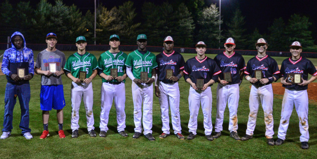 The District 12-AAA All-Tournament Team L to R - Zac Vaughn, Antioch; Cody Byers, McGavock; Taylor Demonbreun, Patrick Lockeridge, Terron Smith, Hillwood; Julius King, Gideon McKee, Logan Roberts, Sam Mast, Alex Hall (MVP), Overton