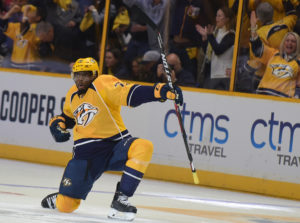 Subban celebrates his 1st goal as a Nashville Predator.