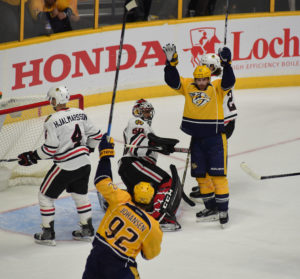 Predators center Mike Fisher (12) celebrates after his 2nd period goal put Nashville up 3-2.