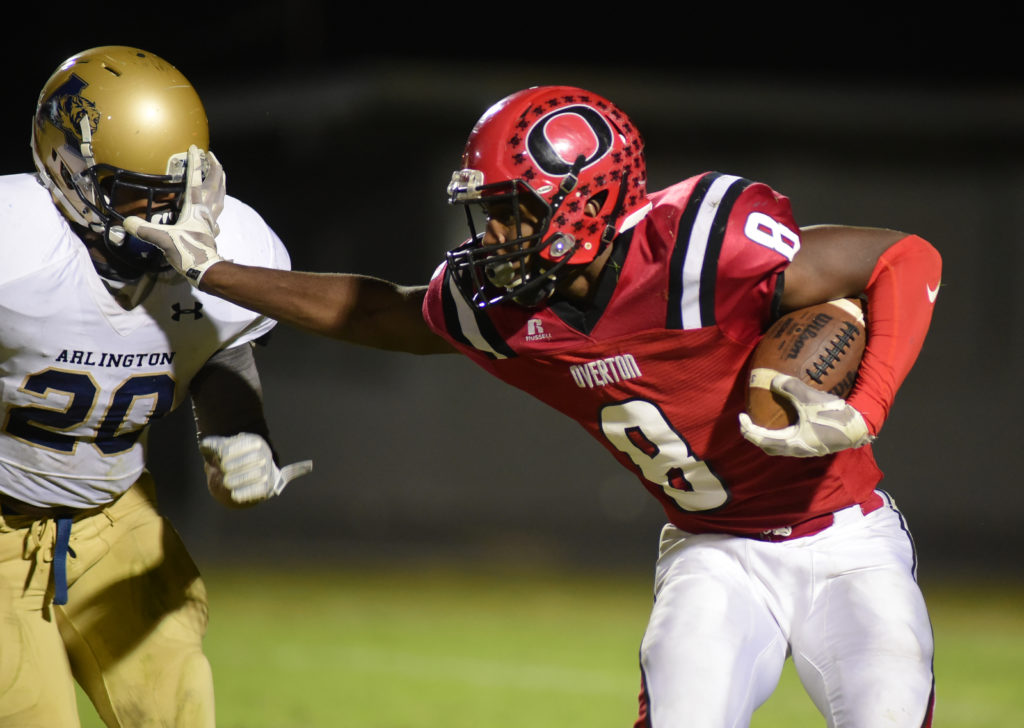Overton's Tavarius Travis had 204 yards rushing and 5 TD's in the Bobcats 45-17 win over Arlington