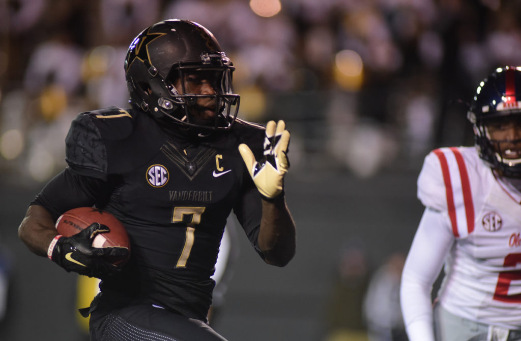 Ralph Webb had 3 TD's for the Commodores in their 38-17 win over Ole Miss - Photos by Mike Strasinger