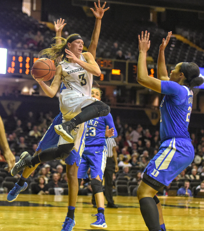 Vanderbilt's Rachel Bell drives against Duke - Photos by MIke Strasinger
