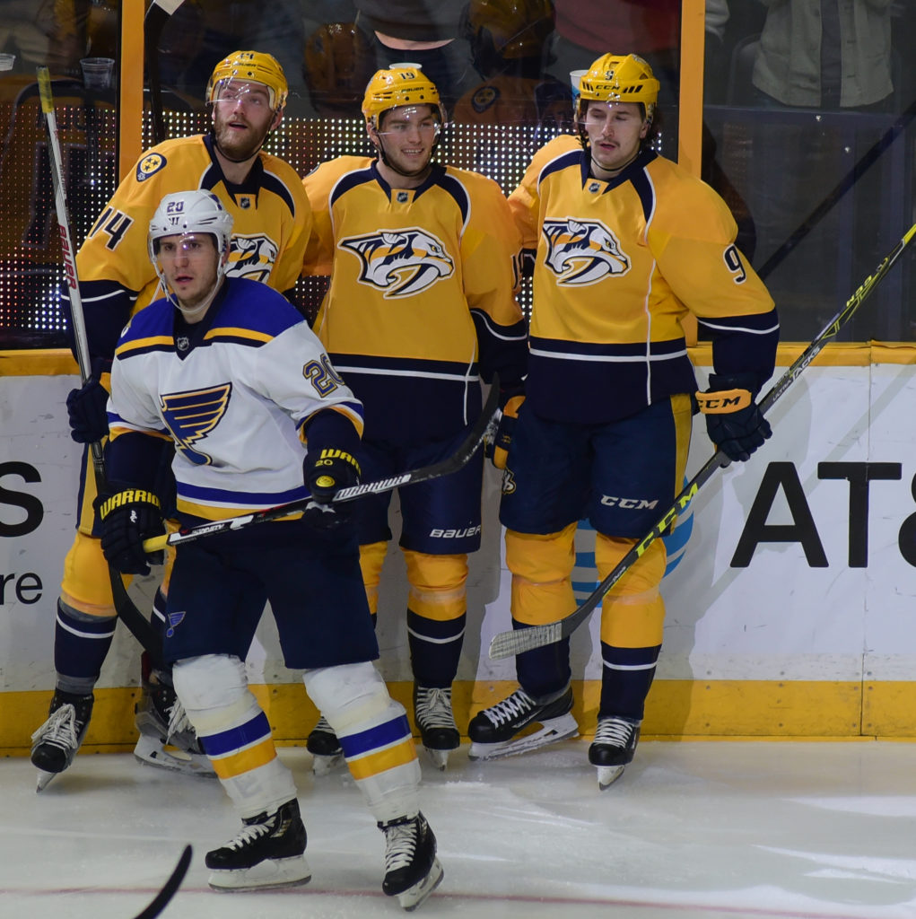 The Nashville Predators led by Calle Jernkrok (center) with two goals defeated the St. Louis Blues 3-1. Photos by Mike Strasinger