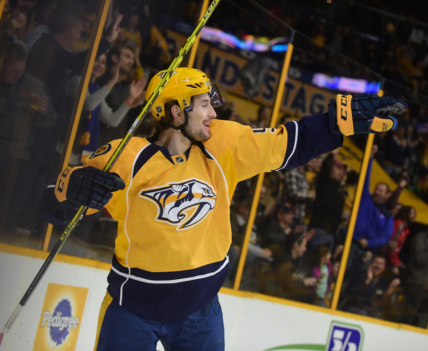 Predators forward Filip Forsberg reacts after scoring a 1st period goal vs the Dallas Stars. Nashville won 5-2. Photos by Mike Strasinger
